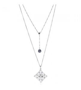 Collana Notre Dame doppio filo in acciaio 316L con pendente rombo e ematite snt03