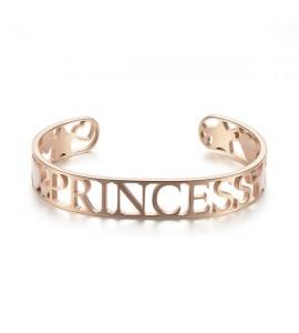 Bracciale rigido donna gioielli Sagapò Lovely in acciaio 316L pvd oro rosa e smalto rosa sov18