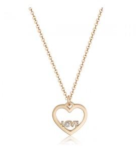 Collana donna gioielli Sagapò Pretty in acciaio pvd oro rosa con cuore con scritta Love e cristallo gold quartz spe04
