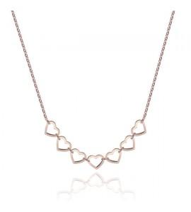 Collana donna gioielli Sagapò Starlove in acciaio 316L pvd oro rosa con Cuori srl04