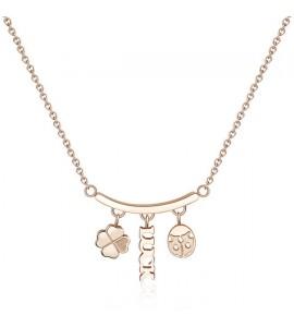 Collana donna gioielli Sagapò Tricony in acciaio 316L pvd oro rosa con charm sty05