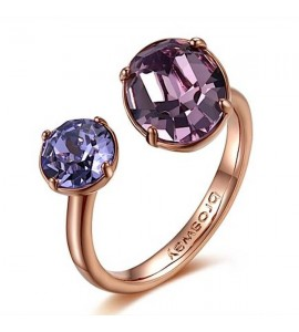anello affinity ottone galvanica oro rosa cristalli colorati swarovski