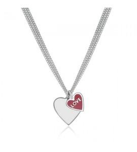 Collana donna gioielli Sagapò Trichain in acciaio 316L con cuore e smalto rosso stn02