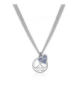 Collana donna gioielli Sagapò Trichain in acciaio 316L con simbolo della pace e smalto turchese stn01