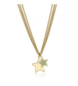 Collana donna gioielli Sagapò Trichain in acciaio 316L pvd oro con stelle e smalto stn03
