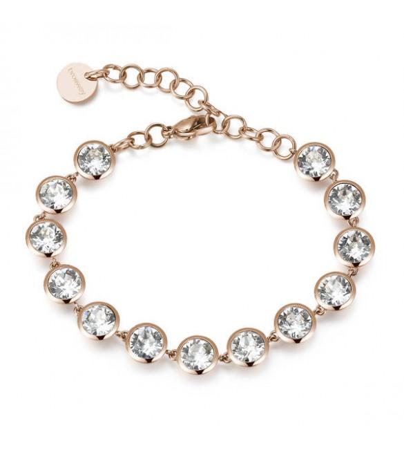 Bracciale donna gioielli Brosway Symphonia in acciaio 316L pvd oro rosa con swarovski crystal bym33