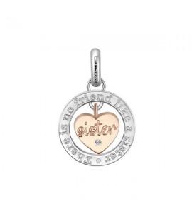 Charm Très Jolie in acciaio 316L pvd oro rosa con incisione Sister btjm395