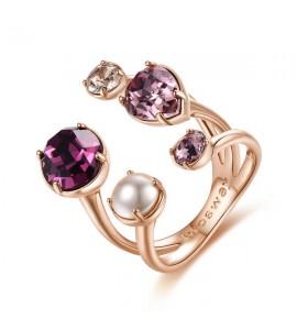 anello affinity ottone galvanica oro rosa perla cristalli colorati swarovski