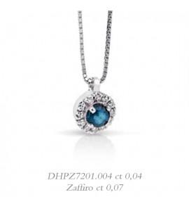 Collana donna gioielli Donnaoro linea Arcobaleno in oro 18 kt con contorno di diamanti e zaffiro ct 0,07 DHPZ7201.004