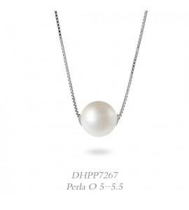 Collana donna gioielli Donnaoro linea Bianca in oro 18 kt con perla mm 5-5,5 DHPP7267