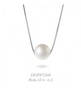 Collana donna gioielli Donnaoro linea Bianca in oro 18 kt con perla mm 6-6,5 DHPP7268