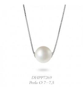 Collana donna gioielli Donnaoro linea Bianca in oro 18 kt con perla mm 7-7,5 DHPP7269