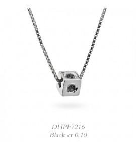Collana donna gioielli Donnaoro linea Dadi in oro 18 kt con Diamanti Black ct 0,10 DHPF7216