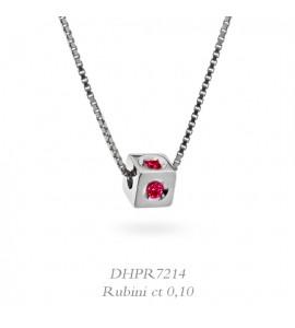 Collana donna gioielli Donnaoro linea Dadi in oro 18 kt con Rubini ct 0,10 DHPR7214