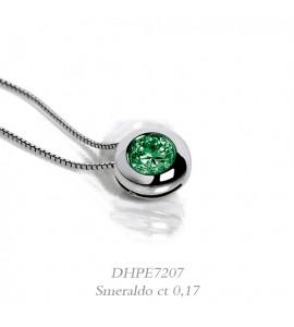 Collana donna gioielli Donnaoro linea Arcobaleno in oro 18 kt con smeraldo ct 0,17 DHPE7207