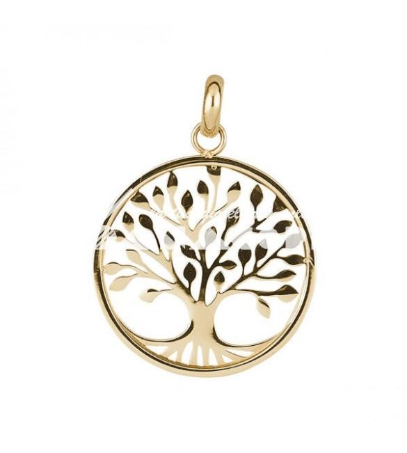charm tres jolie mini in acciaio e pvd oro con albero della vita
