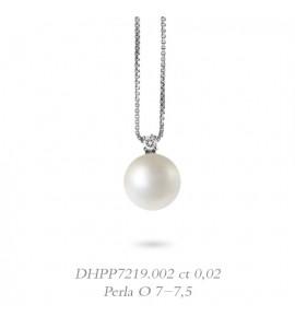 Collana donna gioielli Donnaoro linea Bianca in oro 18 kt con diamante ct 0,02 e perla mm 7-7,5 DHPP7219.002