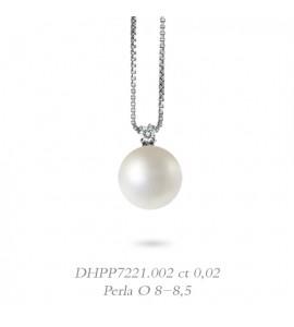 Collana donna gioielli Donnaoro linea Bianca in oro 18 kt con diamante ct 0,02 e perla mm 8-8,5 DHPP7221.002