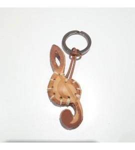 Portachiavi Keychain in cuoio La Cuoieria Made in Italy Chiave di Violino p336