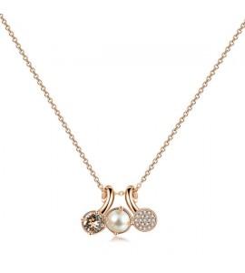 collana affinity in ottone e galvanica oro rosa con swarovski silk perle cream e pavè di zirconi bianchi