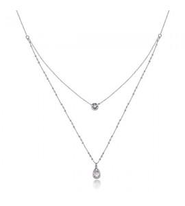 collana affinity in ottone rodiato a due fili e cristalli swarovski