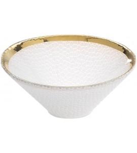 Ciotola Coppa in vetro Milano 20 cm h.7,5 cm - Bianco Opaco/Oro 24KT 4.000007