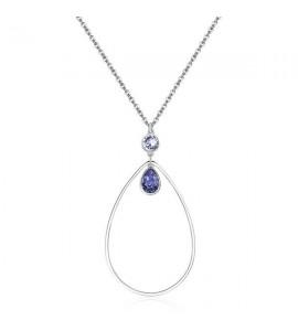 collana destiny in acciaio 316L e cristalli provence lavender e tanzanite