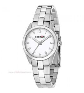 Orologio donna solo tempo Sector 270 cassa in acciaio 30 mm quadrante bianco r3253578501