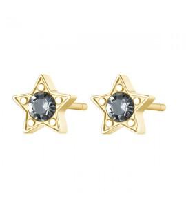 Orecchini donna gioielli Sagapò Click in acciaio 316L con Stella pvd oro e cristalli bianchi sck47