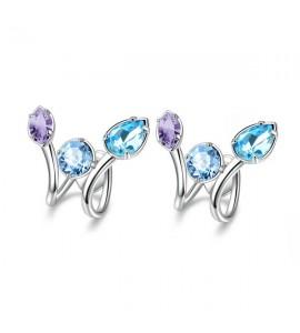 orecchini affinity in ottone con swarovski aquamarine light sapphire e provence lavender