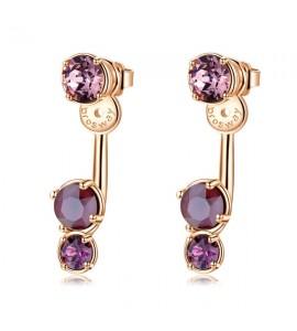 orecchini affinity in ottone e galvanica oro rosa con swarovski crystal antique pink amethyst crystal dark red