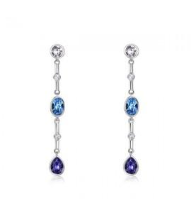 orecchini affinity ottone rodiato cristalli swarovski smoky mauve aquamarine tanzanite zirconi bianchi