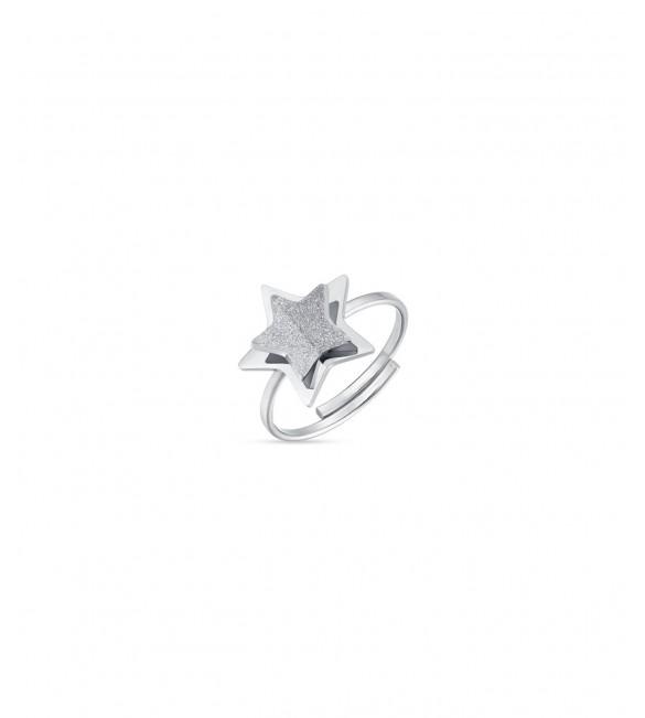 Anello donna gioielli Luca Barra in acciaio regolabile con Stella glitter bianco ank266