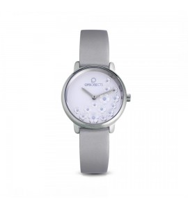 orologio opsobjects bold flower pelle silver