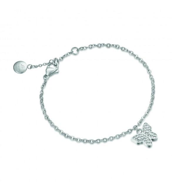 Bracciale donna gioielli Luca Barra in acciaio con Farfalla e cristalli bk1497