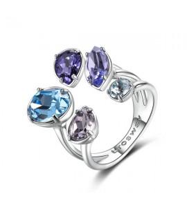 anello affinity ottone rodiato cristalli colorati swarovski