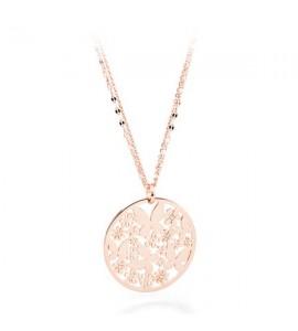 Collana Flower acciaio 316L pvd oro rosa pendente Farfalle e cristalli sfl03