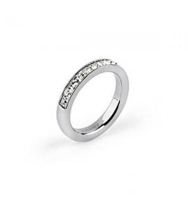 Anello Tring acciaio 316L cristalli swarovski bianco Lealtà btgc55b
