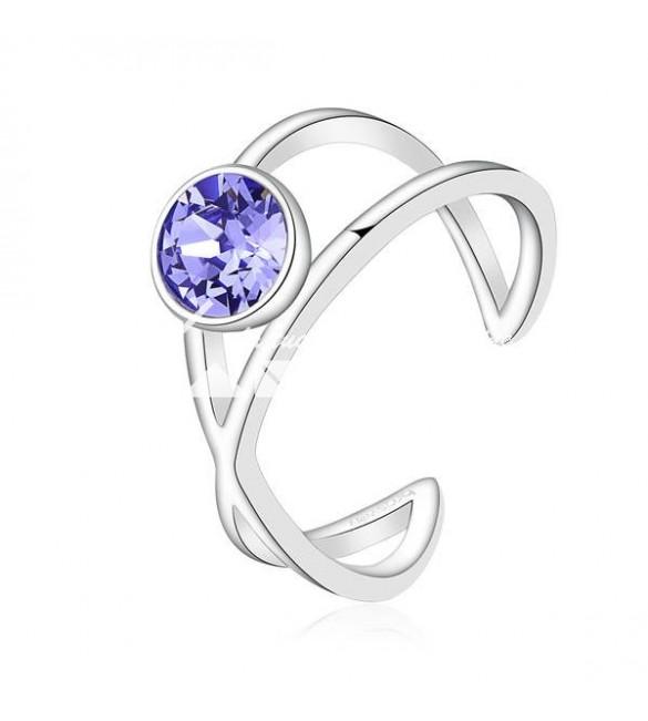 ANELLO DESTINY acciaio 316L cristallo swarovski provence lavender